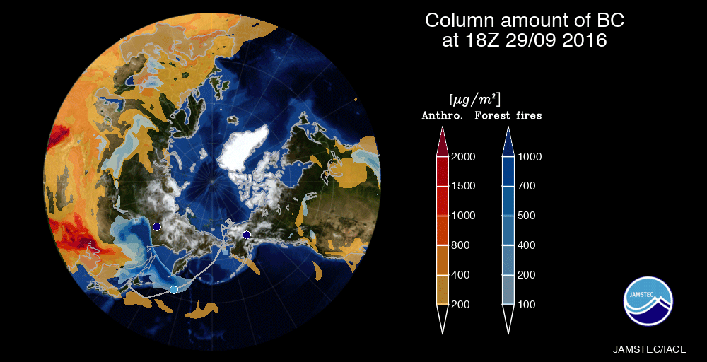 Vertical column amounts of BC on September 29, 2016 estimated using numeric modelling