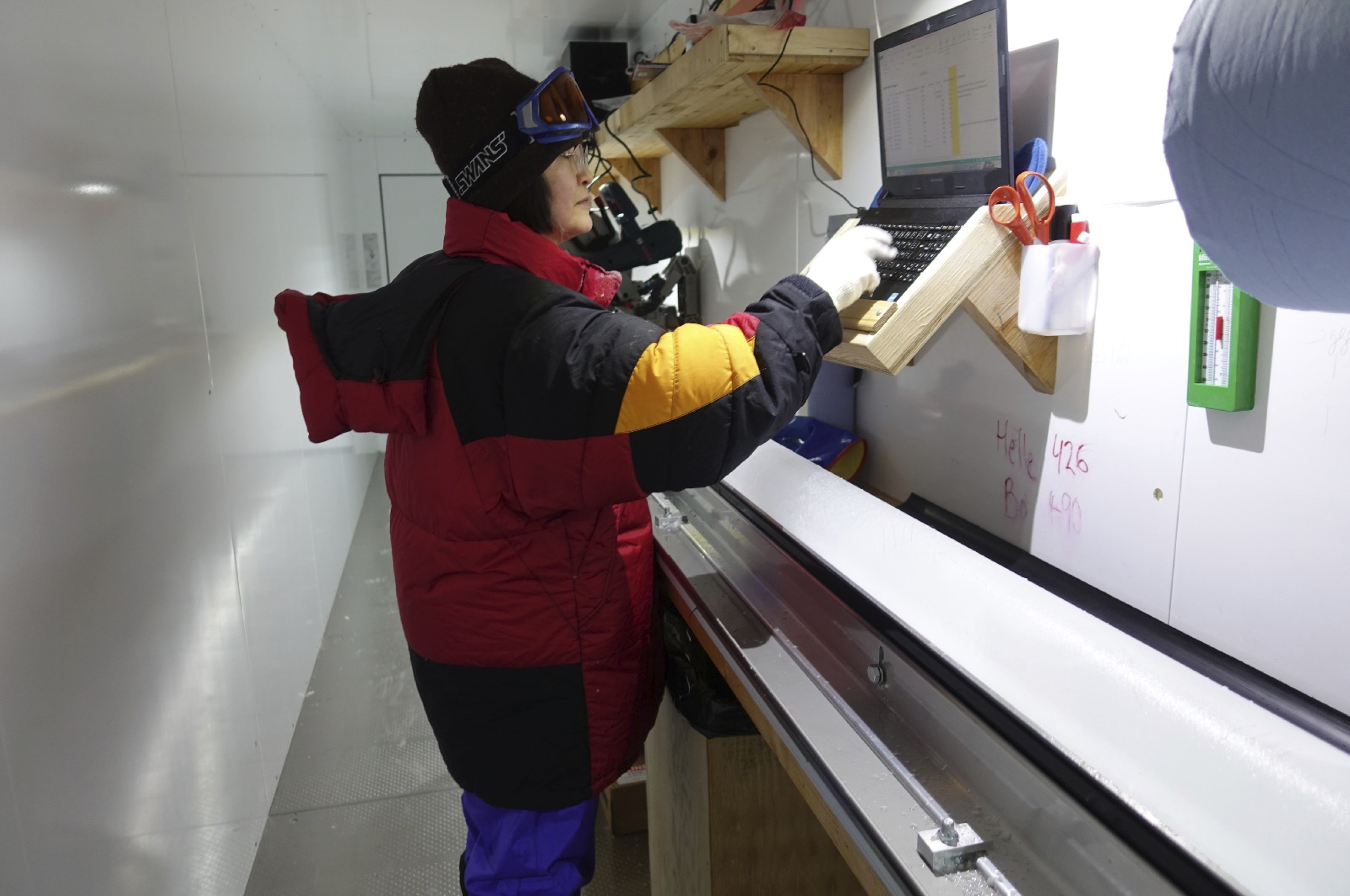 Figure 2: On site analysis of the ice core drilled at the East Greenland Ice drilling Project (EGRIP) field station on the Greenland Ice Sheet.