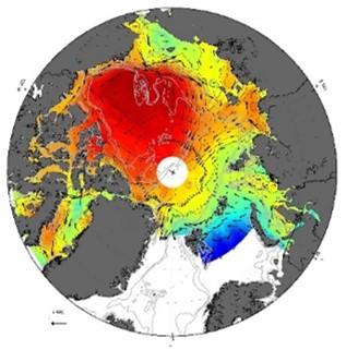 衛星海面高度計データに基づいて推定された海面力学高度および海洋循環の水平分布