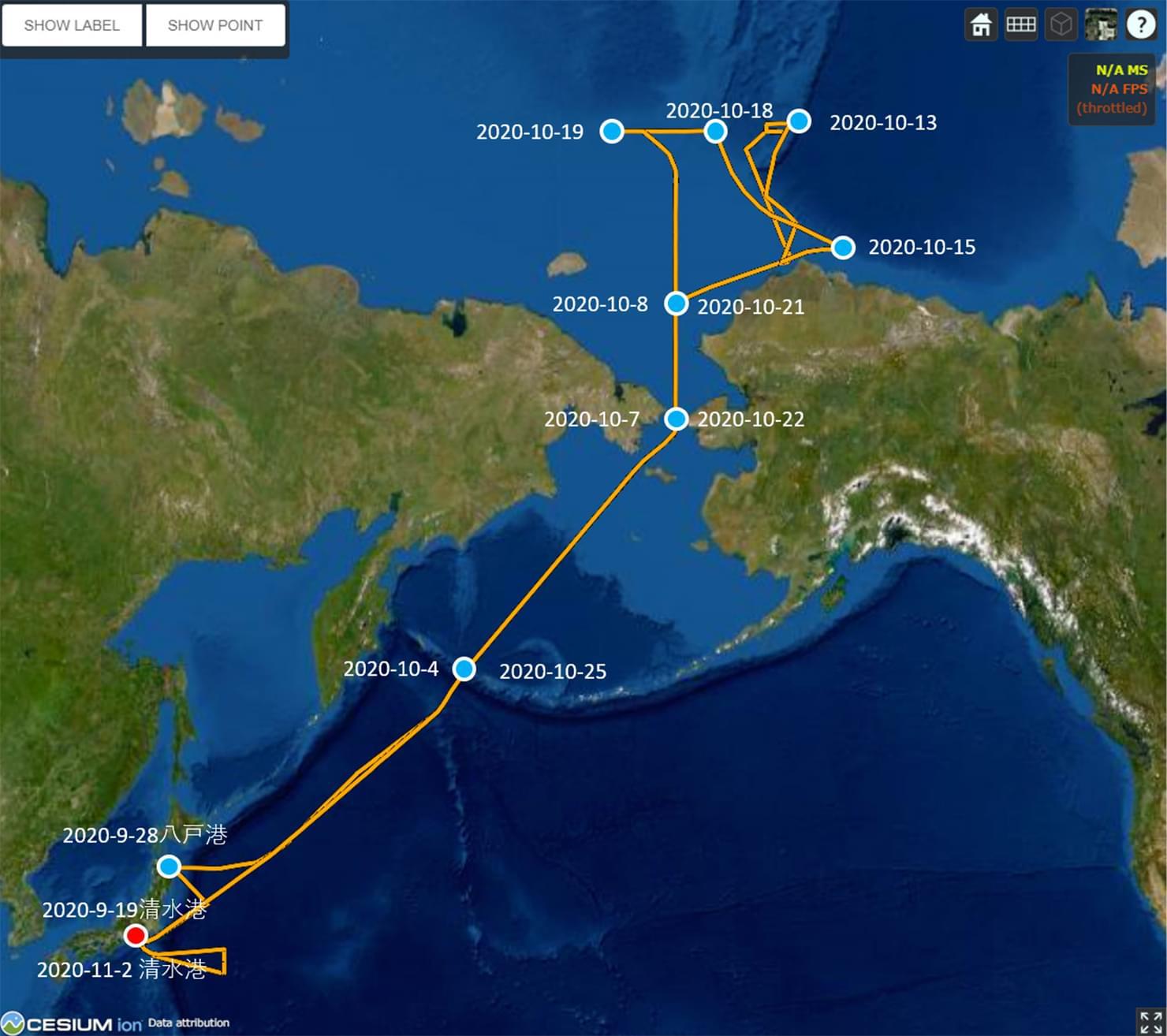 「みらい」北極航海の航路