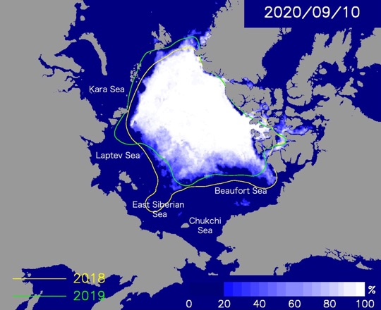 Predicted sea ice cover on September 10, 2020.