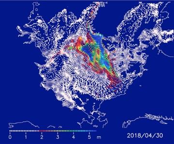 2017年12月1日の海氷域上に等間隔に配置した粒子の2018年4月30日の分布